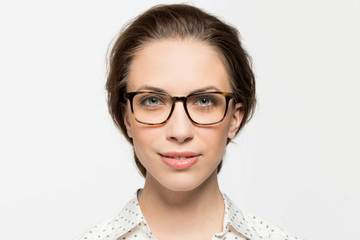 Nash eyeglasses in whiskey tortoise on female model viewed from front