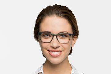 Nash eyeglasses in artichoke on female model viewed from front