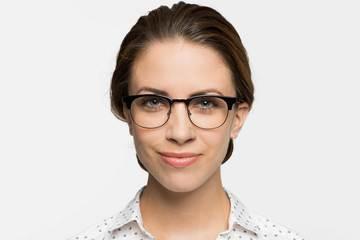 Kepler eyeglasses in black on female model viewed from front