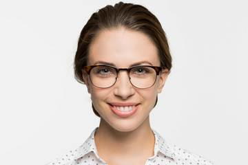 Kepler eyeglasses in sazerac crystal on female model viewed from front