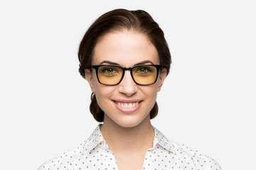 Nash sleepglasses in black on female model viewed from front