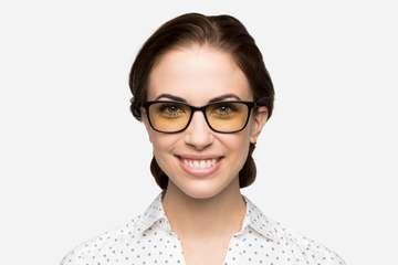 Faraday sleepglasses in black on female model viewed from front