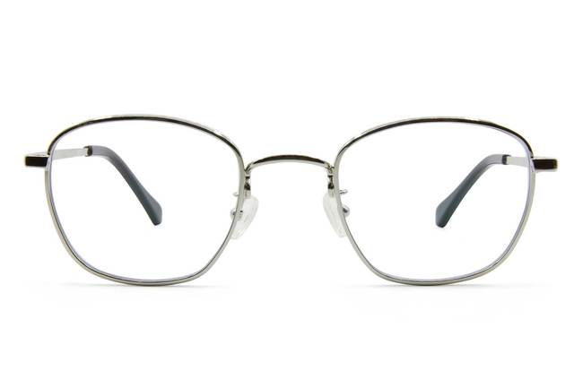 Haro eyeglasses in silver viewed from front