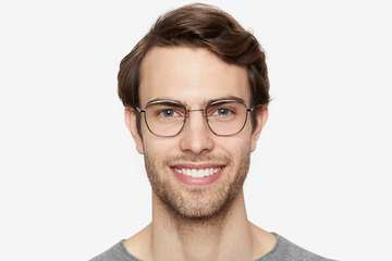 Haro eyeglasses in silver on male model viewed from front