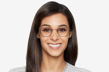Haro eyeglasses in silver on female model viewed from front