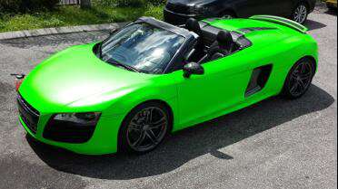 Wrapped in 3M Satin Neon Fluorescent Green.  Photo courtesy of Carbon Wraps, Orlando, FL.
