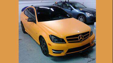 3M 1080 Matte Orange wrapped Mercedes. Photo courtesy of Wrights Wheels & Tires, Arlington, TX.
