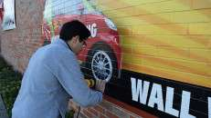 Wall wrap in process with 3M 480Cv3 and 8548G by Capital Wrappers, Houston, TX.