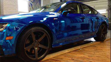 Avery Blue Chrome Conform wrapped Porsche. Photo courtesy of Designer Wraps, Millville, NJ.