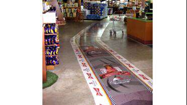 3M 3645 8 Mil Luster Laminate over floor graphic.