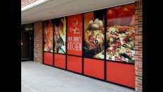 Glass ADhere White Peel and Place Window Film printed graphics on glass windows. Photo courtesy of Glass ADhere