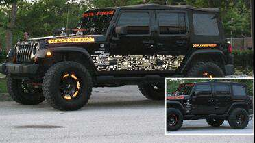 3M 680 Reflective Black on side of Jeep reflects white when light shines on it. Photo courtesy of 904 Signs and GFX, Middleburg, FL.