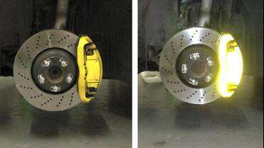 3M 680 Reflective Lemon Yellow on Brake Caliper. Photo courtesy of 201 Wrap, Jacksonville, FL.