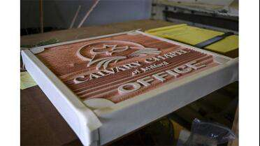 Hartco HGS930S Sandmask High Grip used on sandblasted redwood sign. Photo courtesy of The Sign Chef, Charleston, SC.