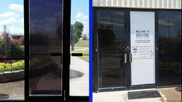 Solvex 70/30 Perf printed and installed on Fellers door. (Left-View from inside, Right-View from outside)