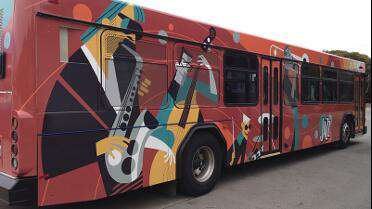 Mactac 929 BFD Gruv printed bus wrap. Photo courtesy of Mactac.
