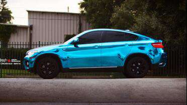 Orafol 8300 Ice Blue Transparent laminated onto Avery Silver Chrome vinyl. Photo Courtesy of Carbon Wraps, Orlando, FL