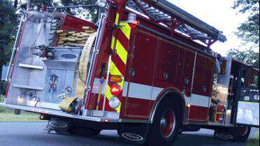 "Orafol Reflexite Prismatic 6"" Conspicuity Tape Fluorescent Lime on fire truck. Photo courtesy of Orafol USA."