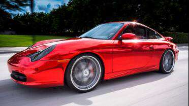 Avery Red Chrome Conform wrapped Porsche. Photo courtesy of Florida Car Wrap.com, Davie, FL.