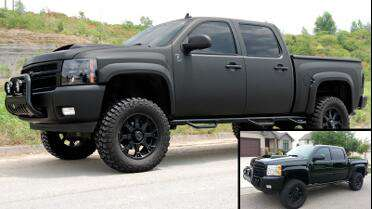 Frank's truck wrapped with 3M 1080 Matte Black over Black original paint.