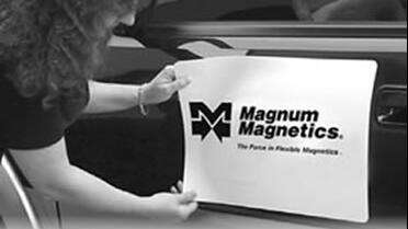 Magnum Magnetics 30 mil Matte White Sheeting with cut graphics. Photo courtesy of Magnum Magnetics.