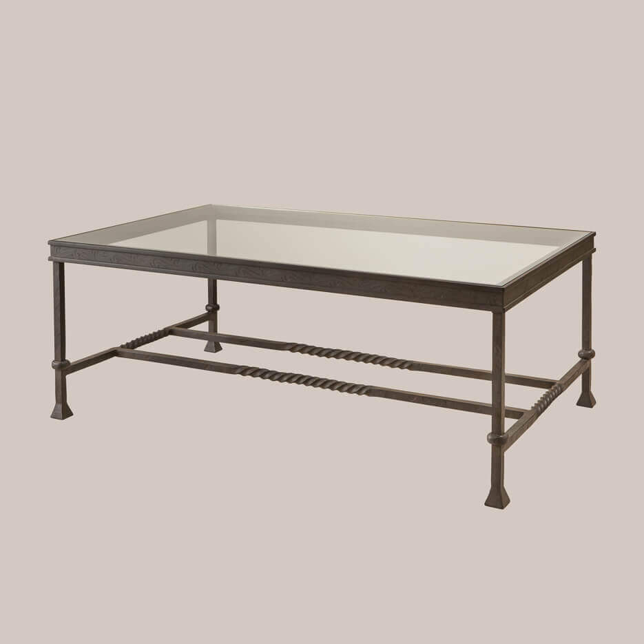 6051 Iron Glass Rectangular Coffee Table Paul Ferrante