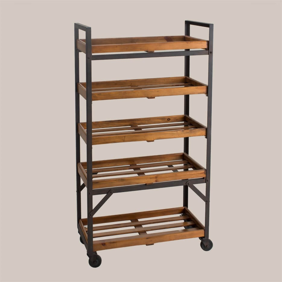 6122-Iron and Wood Rolling Cart-1