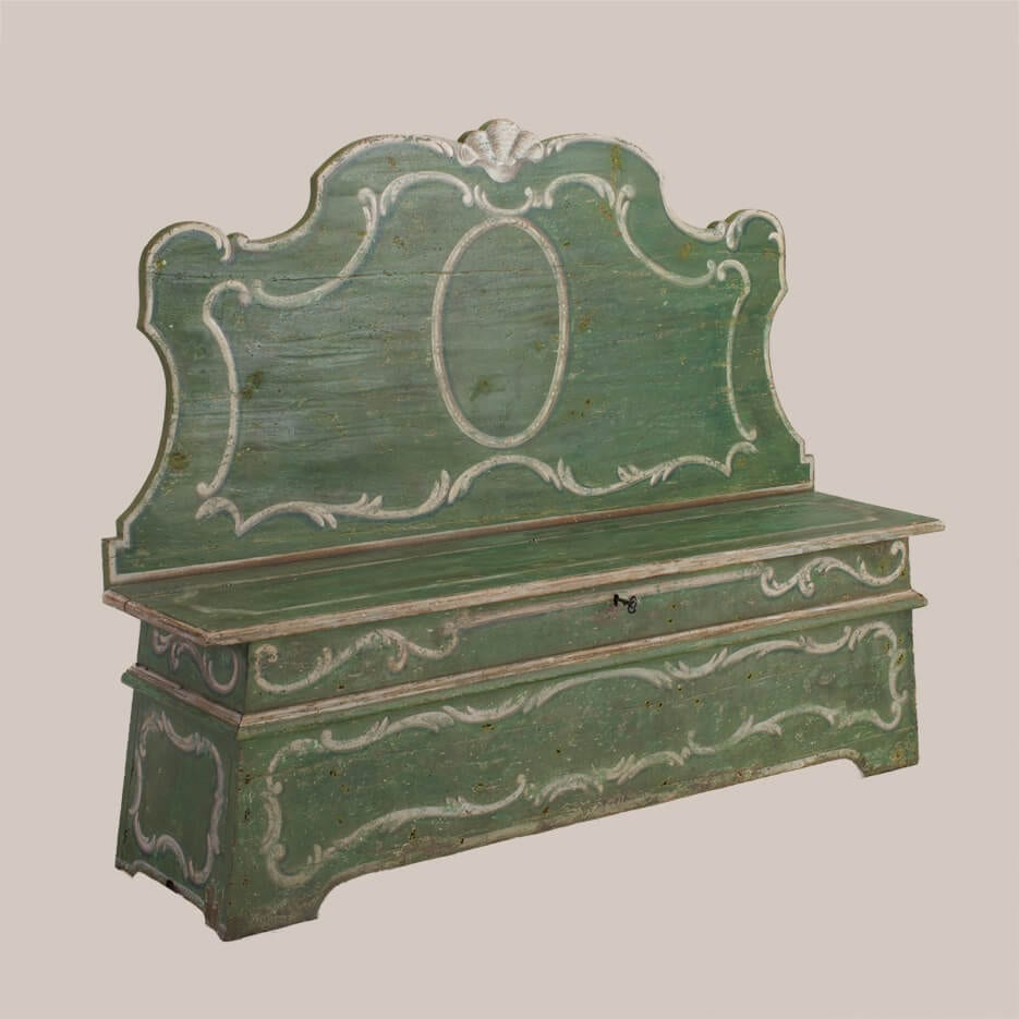 6176-Green Painted Bench-1