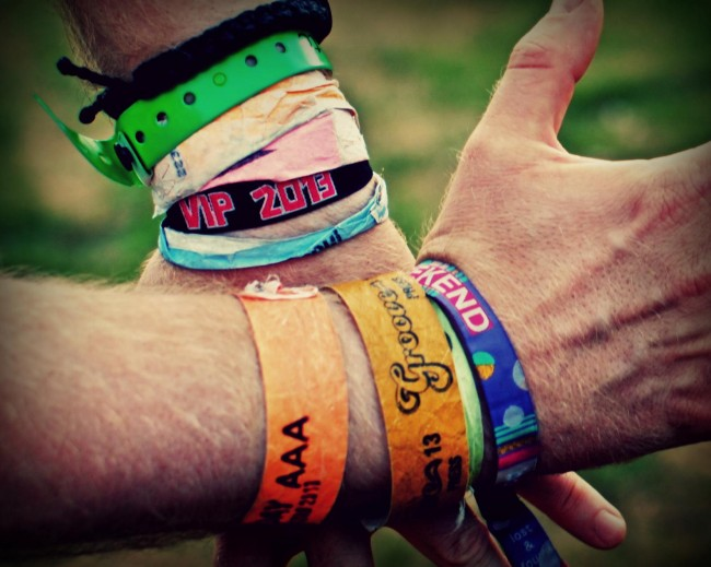 Mark's handcuffs: any fest fanatic has lots of wristbands.