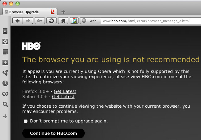 HBO.com viewed in Opera on Mac