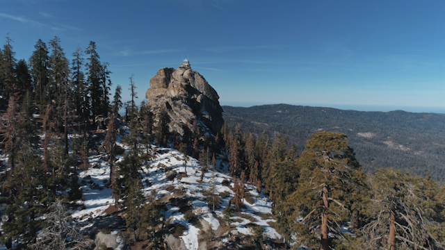 A large rock is rising up above the tree tops thumbnail