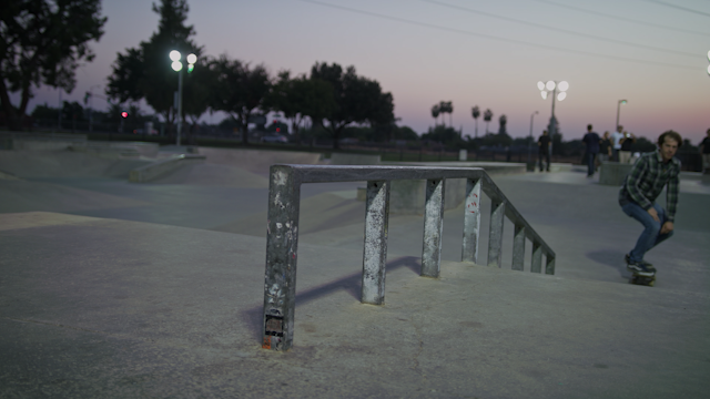A skater grinds on a rail thumbnail