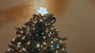 A bright star sits on top of a decorated christmas tree thumbnail