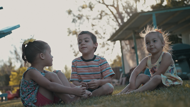 Three kids are sitting on the grass in their backyard thumbnail