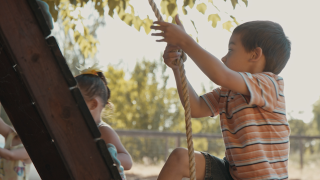 A little boy climbs up a rope on a play structure thumbnail