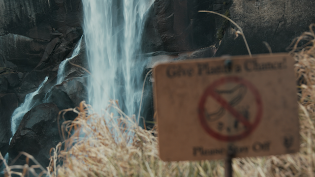 A plant preservation sign sits infront of a waterfall thumbnail