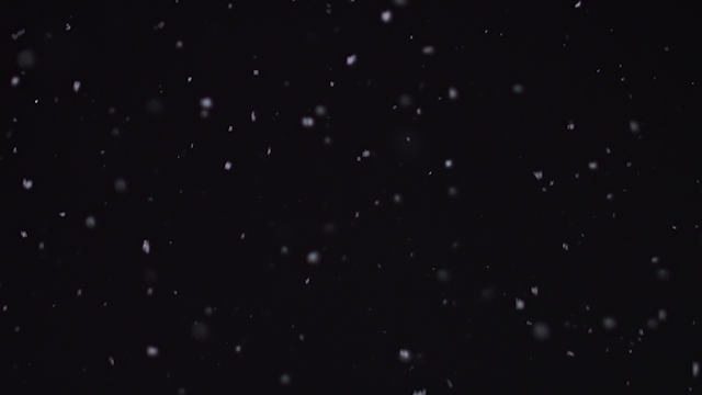 Snow falls against a dark night sky thumbnail
