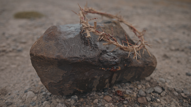 A crown of thorns is sitting on a rock thumbnail