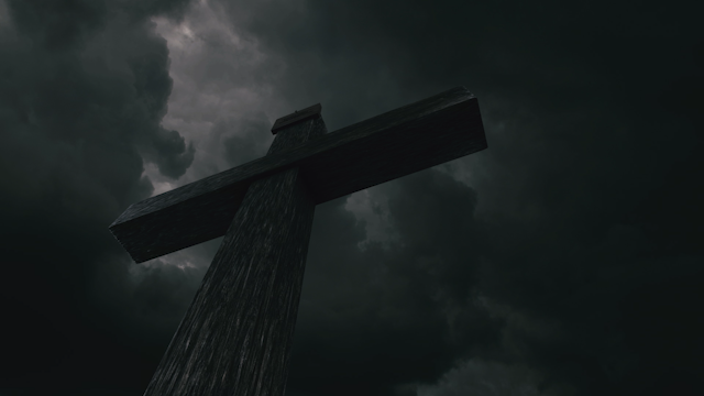 A cross stands beneath a dark sky with lightning thumbnail