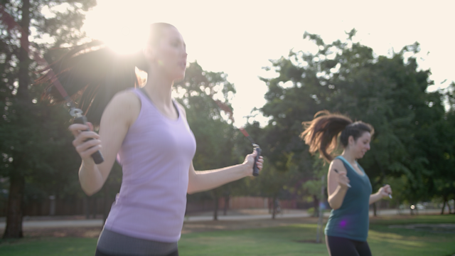 Two women are exercises with jump ropes thumbnail