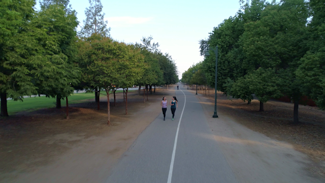 Two women are jogging on a pathway with trees thumbnail