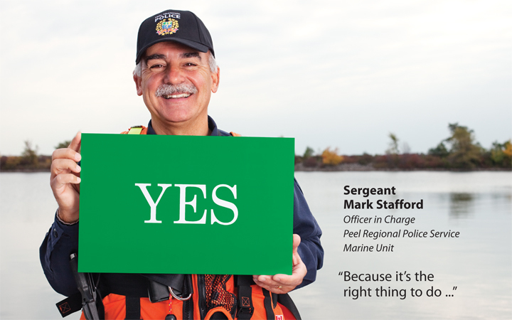 Environmental Portrait Sergent Mark Stafford, Lake Ontario  background, Trillium Gift of Life