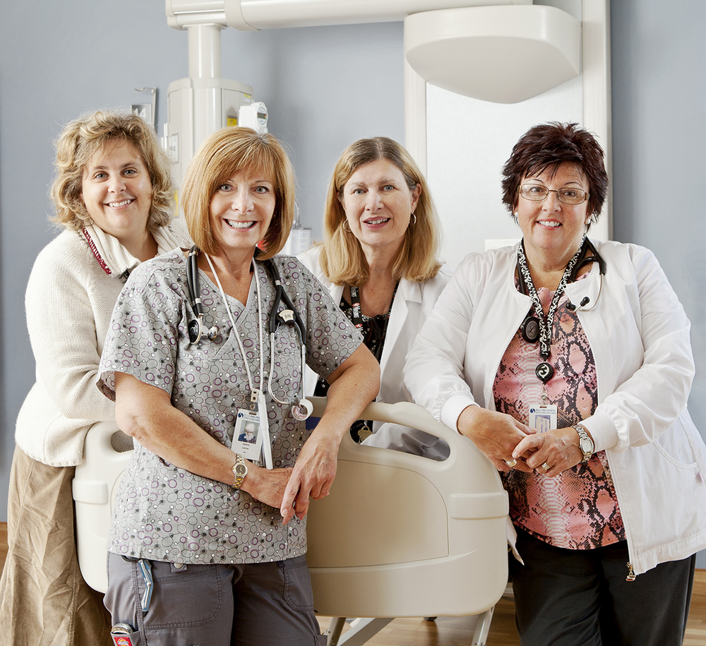 Group photograph of 4 Nurses on Location, Environmental Portrait Sault St. Marie, Ontario