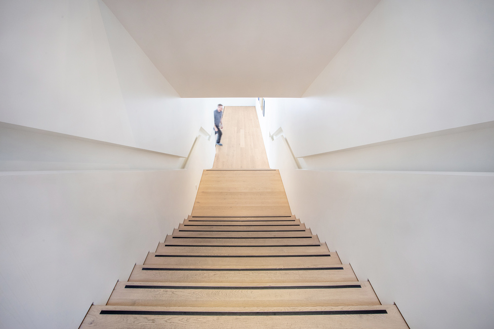 Art gallery photography for fine art photography facility Polygon Gallery in North Vancouver, the image shows clean modern photography of interiors including this staircase
