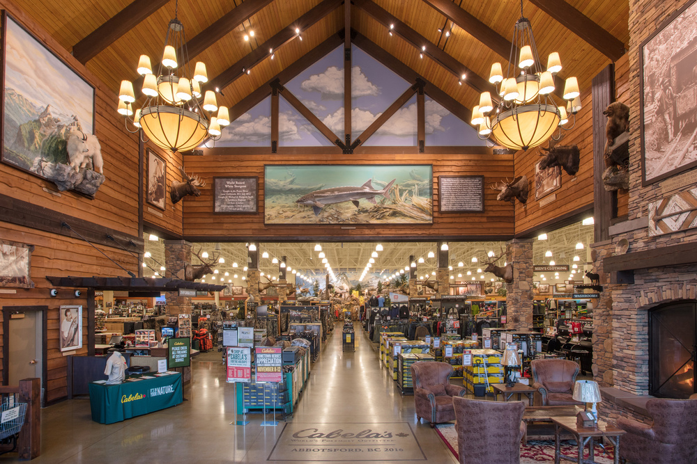 The interior entrance was photographed for Cabelas in Abbotsford BC for Norson Constructions complete store build-out