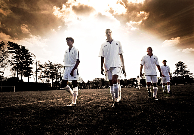 Dramatic shot of high school soccer, Appleby College, Oakville Ontario