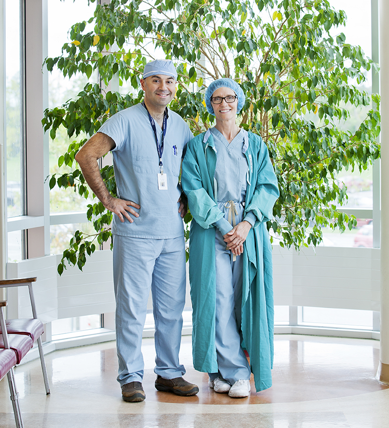 Location portrait, environmental portrait, full shot 2 surgeons, Couberg Hospital, Whitby, Ontario