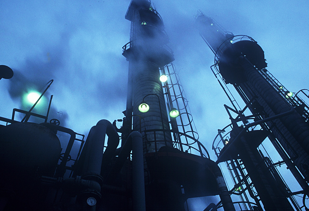 Dramatic Blue Dusk,Industrial  Low Angle Petroleum Plant, Chicago
