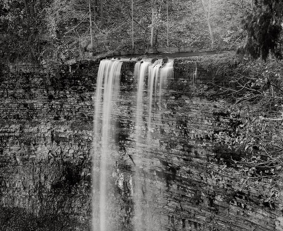 Spencer Falls, Ontario. Black& White, Gorge, Waterfall.