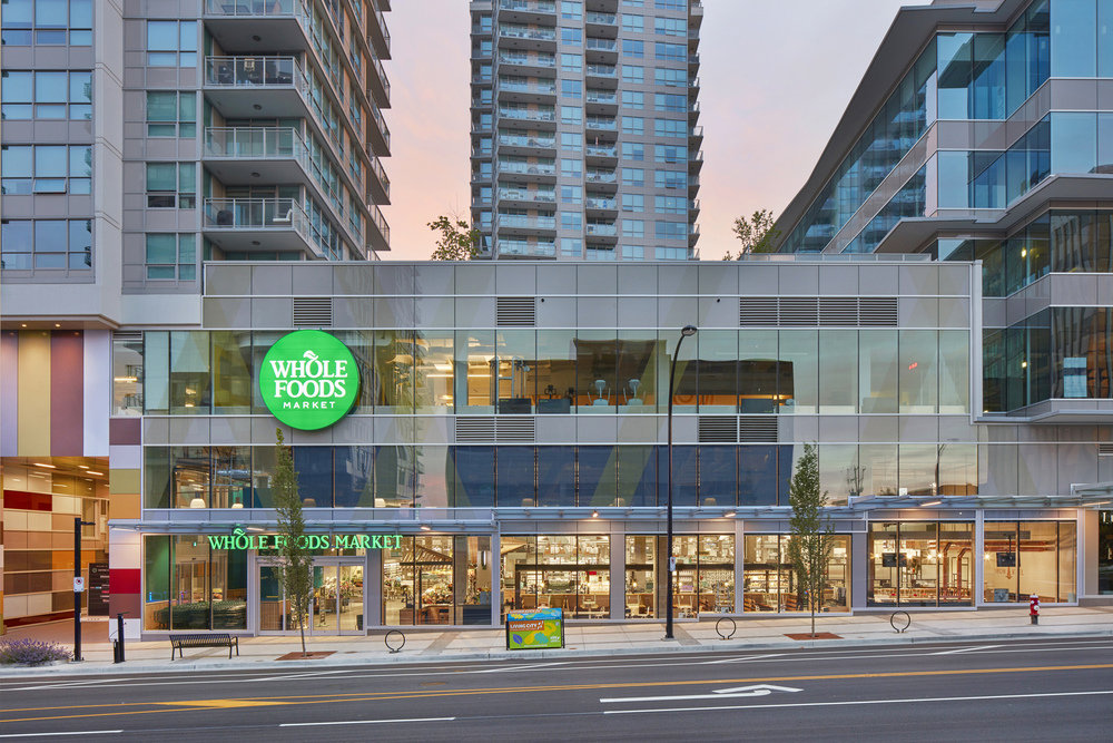 commercial building photographer Justin Eckersall created retail photography for this North Vancouver Whole Foods location which included exterior commercial photography and retail interior photography
